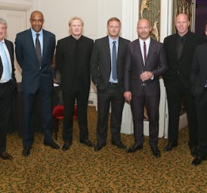 The Football Extravaganza celebrating 20 years of the Premier League, in aid of Nordoff Robbins. From Left, Frank Lampard, Steve Bruce, Brian Deane, Colin Hendry, David May, Alan Shearer OBE, Brad Friedel, Gary Neville & Sol Campbell,  .Wednesday, April.11, 2012 (Photo/John Marshall JME)