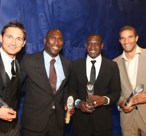 The Football Extravaganza celebrating 20 years of the Premier League, in aid of Nordoff Robbins. Four of the six Premier League 500 Club. From Left. Frank Lampard, Sol Campbell, Emile Heskey and David James. Played more than 500 Premier League games..Wednesday, April.11, 2012 (Photo/John Marshall JME)